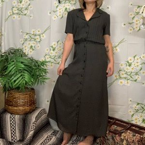 Vintage Talbots polka dot button front maxi dress